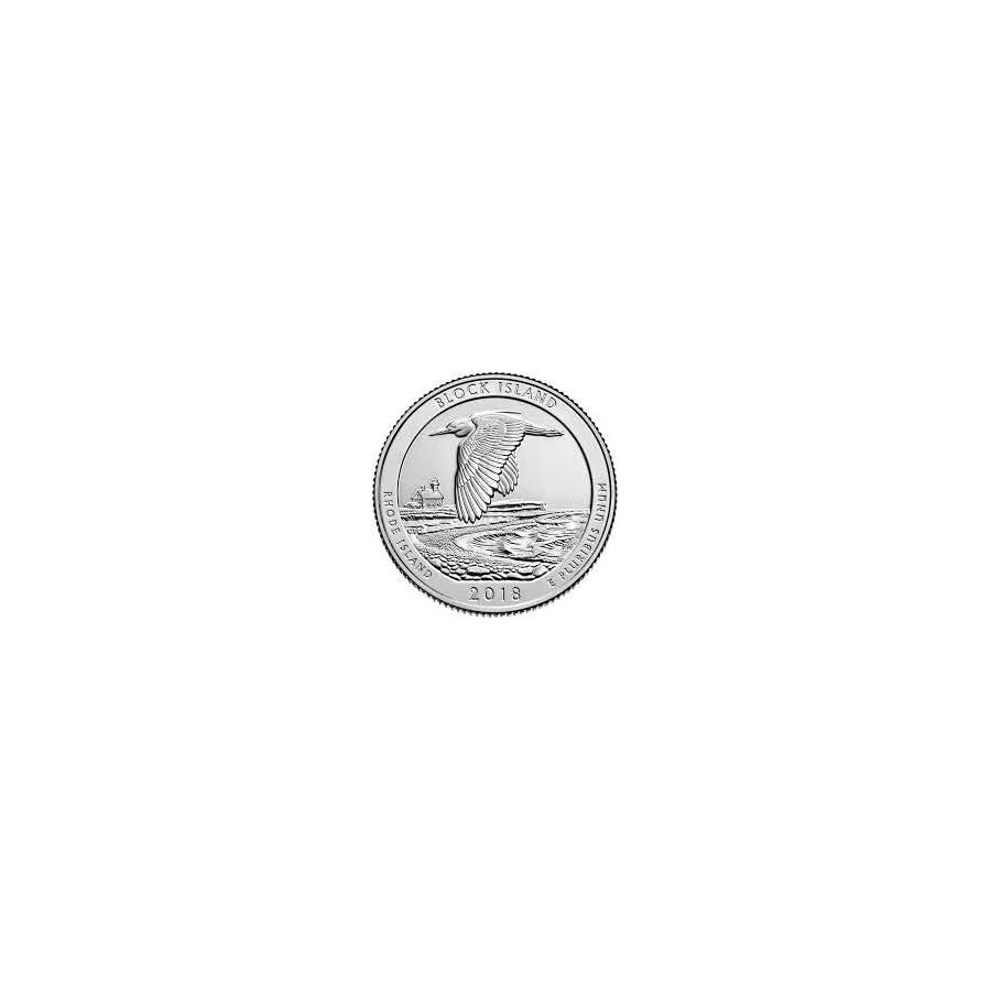 2018 P, D Block Island Wildlife Refuge, RI National Park Quarter Singles 2 Coin Set Uncirculated