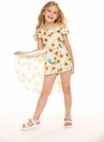 ec09161090 NoNoAnt Kids Girls Summer Sling Sweet Floral Dress Elegant Girl Princess  Ruffles Irregular Culotte Dresses 3