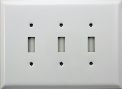 Over Sized Jumbo Smooth White Three Gang Toggle Light Switch Wall Plate
