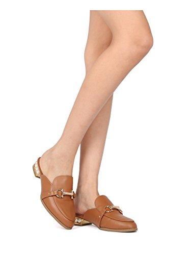 Alrisco Women Leatherette Horsebit Faux Pearl Loafer Mule HF83 - Whiskey (Size: 9.0) by Alrisco (Image #5)