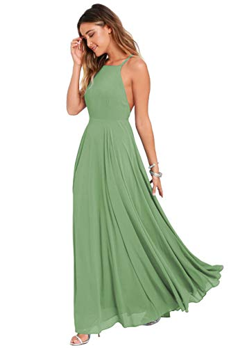 Women's Halter Chiffon Bridesmaid Dress Long Backless Formal Evening Party Gown Size 8 Sage