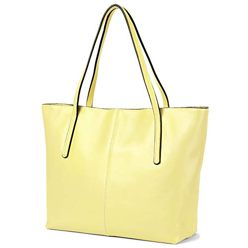 - CHERRY CHICK Women's Genuine Leather Shoulder Bags Big Work Tote Purse Soft Hot(Pale Yellow-2152)