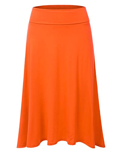 JJ Perfection Women's High Waist Elastic Flared Midi Skirt Orange L