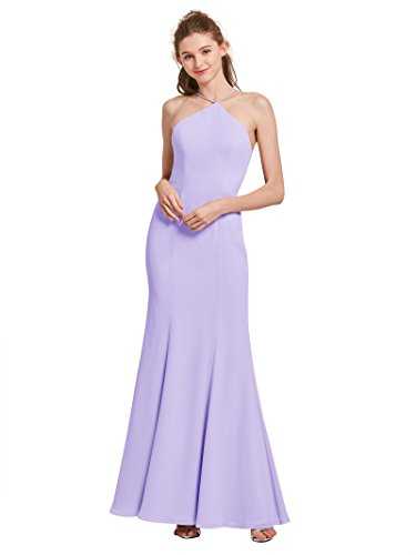Alicepub High Neck Mermaid Bridesmaid Dresses for Womens Formal Evening  Prom Gowns Maxi Dress Plus Size, Lilac, Custom Size