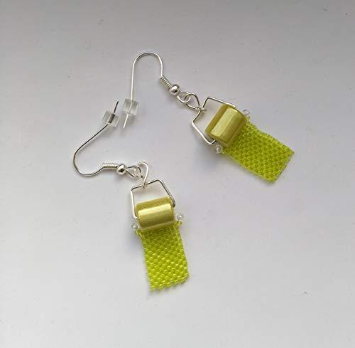 Beadwoven Toilet Paper Lime Green Earrings