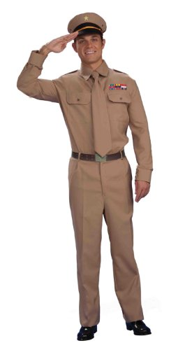 40s Style Costumes (Forum Novelties Men's World War Heroes Costume General Shirt and Tie, Tan, One Size)