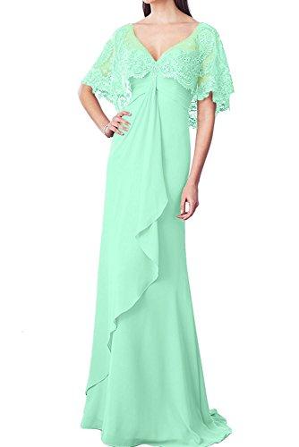 Minze Braut Brautmutterkleider Ausschnitt Chiffon Marie Gruen Spitze Ballkleider Burgundy Elegant v Bodenlang Abendkleider La aU7qw5
