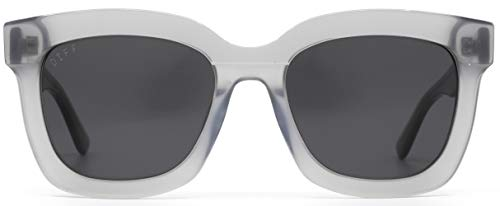 DIFF Eyewear - Carson - Womens Designer Square Sunglasses - 100% UVA/UVB [Polarized] (Grey + Grey Solid)