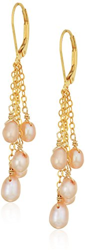 Natural Pink Freshwater Pearl with Gold Over Silver Chain and Lever Back Drop Earrings