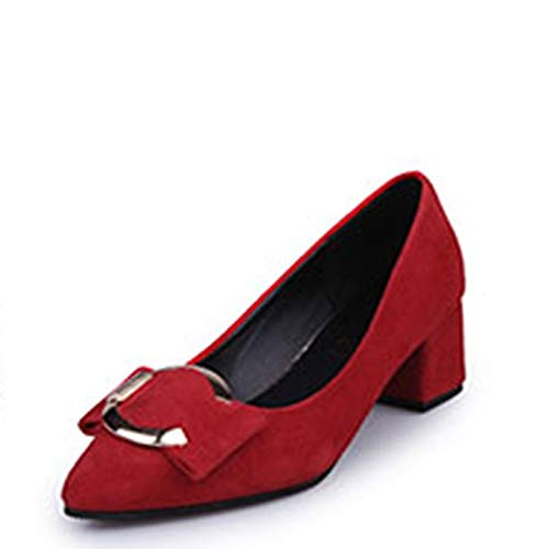 Polyurethane ZHZNVX Shoes Red Grey PU Green Toe Heels Women's Pump Heel Gray Pointed Basic Chunky Fall qRrtqOwx