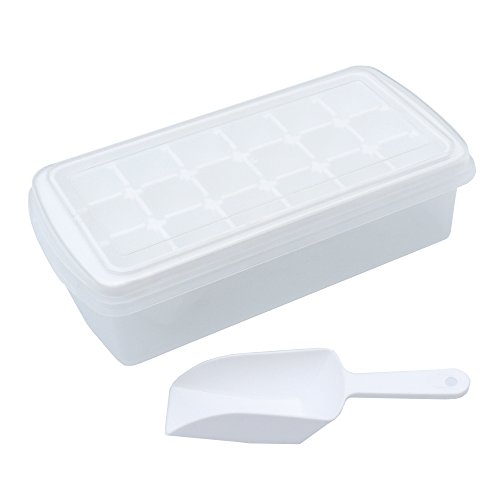"""UPC 764210166221, Amain Shop Ice Cube Trays with Lids,Ice Scoop,Ice Cube Bin,Makes 18 x 1.4"""" Large Ice Cubes,Easy Release,No-Spill,Odor Free White Ice Trays with Removable Cover"""