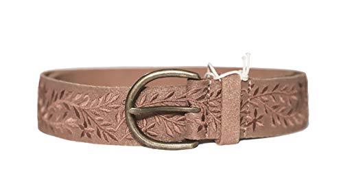 Lucky Brand Women's Metallic Floral Embroidered Leather Belt (Medium)