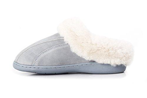 Platforms Lambskin Leather (LAMB Women's Genuine Leather with Australian Sheepskin Slippers (8, Blue))