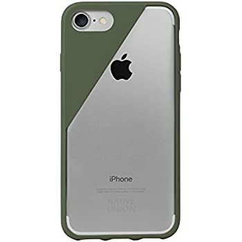Native Union CLIC Crystal Case for iPhone 7, iPhone 8 - Transparent Clear Drop-Proof Cover with Screen Bumper Protection (Olive)