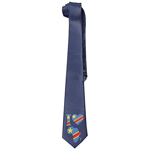 I Love Africa Congo Flag Men's Leisure Skinny Necktie Ties Novelty Necktie Silk (Skinny But I Tie)