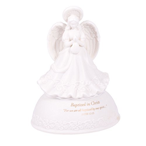 - Baptized in Christ White Porcelain Musical Angel Figurine - Plays Tune Children's Prayer