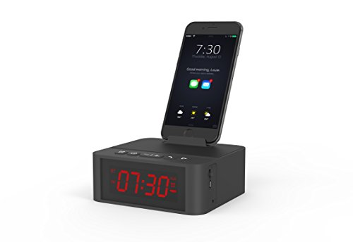 WEIYATS Alarm Clock with Bluetooth Speaker,12H format HD Sound & Red Digital Screen   Showing ,and Smart Phone Dock,Sleep Timer,for Bedroom Office Black