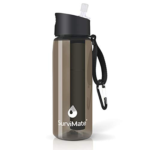 SurviMate Filtered Water Bottle BPA Free with 4-Stage Intergrated Filter