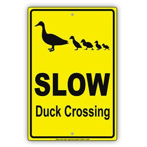 KARPP Slow Duck Crossing Animal Quack Duckling Safety Aluminum Metal Novelty Sign 12 in x 18 in Business, Nostalgic, Retro, Vintage and Funny Signs