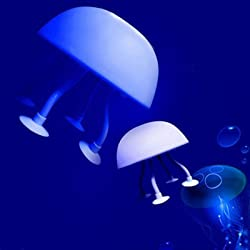 Blue White Jellyfish LED Mood Light Night Lamp for Kids with Usb/ac Adapter