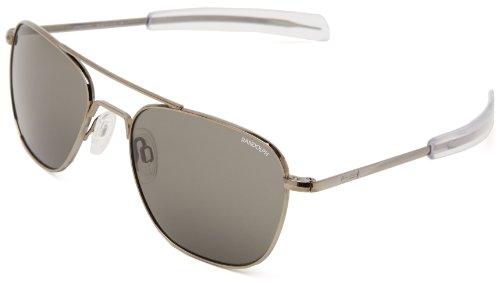 Randolph Aviator Square Sunglasses, 55, Gun Metal, Bayonet, Gray Lenses by Randolph Engineering