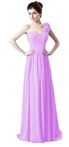Eine Violet Marron Lang Formelle Party Brautjungfer Kleid Schulter Chiffon drasawee Damen Rüsche 5PSwqHq
