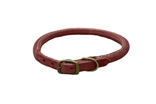 Dog Collar Red Brick (Coastal Pet Products Circle T Rustic Leather Round Dog Collar, 3/8