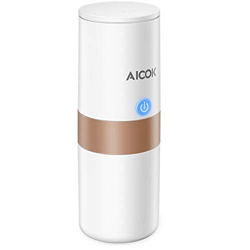 Aicok Portable Coffee Maker, Travel Coffee Maker, Car Charging, 1-Button-Operation, Perfect for Camping, Travel, Kitchen and Office