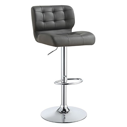 Cheap Upholstered Adjustable Bar Stools Chrome and Grey (Set of 2)