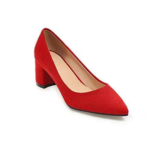 Zapatos Puntiagudos de Trabajo resbal Las Bombas Tacones Mujeres Zapatos Gruesas Altos wxxYgfTX