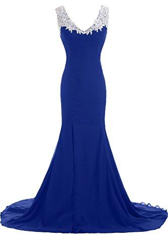 da donna Sunvary a formale lungo Blue abiti Royal sera Chic scollo V profondo Vestito da Gowns xOqtrYOwU