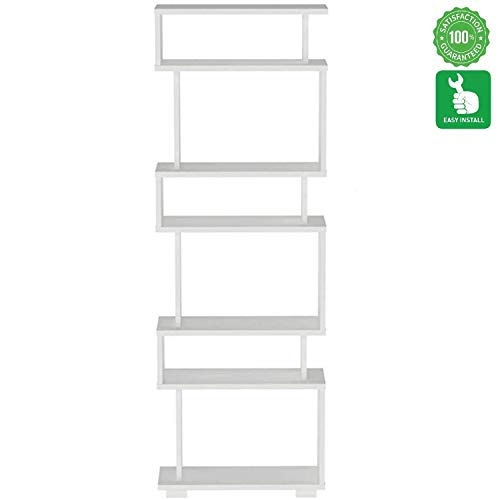 Evomax Book Shelf, Book Shelf Organizer, Modern Design Book Shelf, Modern Design Bookcase and Book Shelf 5 & 3 Shelf- Wooden Bookshelf for Small Spaces White Bookcase