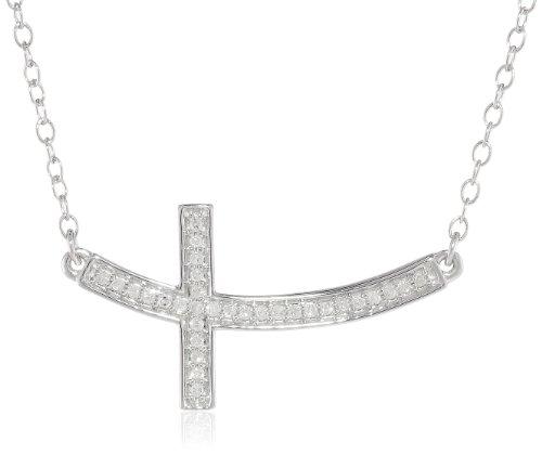Bend Sideways Cross Pendant Necklace Silver Diamond