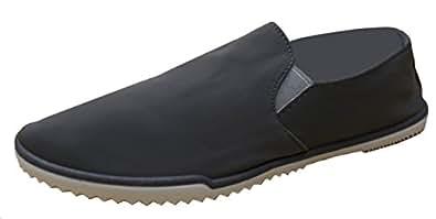 Han's Women's Minimalist Solid Canvas Slip-on Plimsoll Fashion Trainer Sneaker Grey Size: 6.5