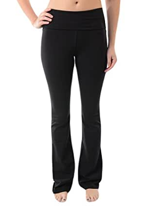 T-Party Fold-Over Waist Yoga Pants,Small,Black