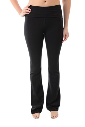 T-Party Fold-Over Waist Yoga Pants,Medium,Black ()