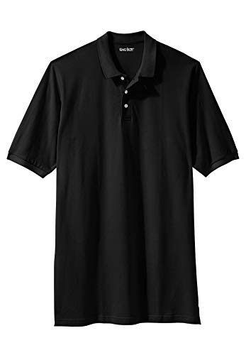 Polo Pique Dye - KingSize Men's Big & Tall Longer-Length Pique Polo Shirt, Black Big-8XL