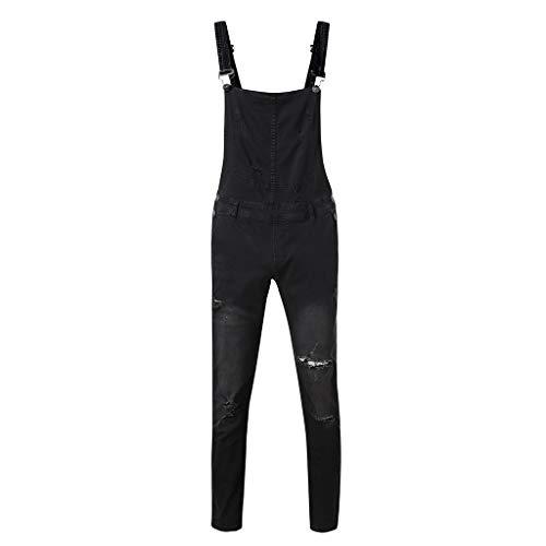 Basic Lavato S Overalls Beodole Strappati Trousers nero Jeans Skinny Bib Loose Jean Fit Uomo Salopette Denim Chiaro qaptnzTp