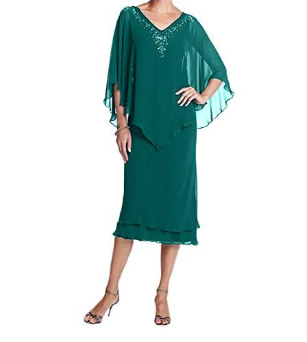 Damen Promkleider V Gruen Kurz Chiffon Brautmutterkleider Charmant Ausschnitt Partykleider Jaeger Festlichkleider d6vITwwq