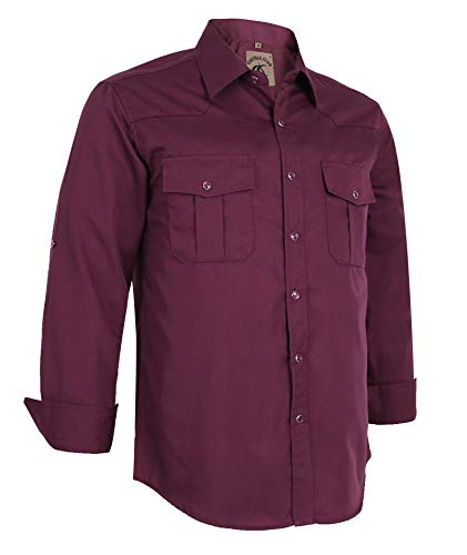 Coevals Club Men's Long Sleeve Casual Western Solid Press Buttons Shirt (XL, Burgundy)