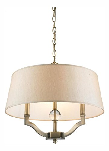 (Antique Brass with Silken Parchment Shade Waverly 3 Light Convertible Pendant/Semi-Flush Ceiling Fixture)