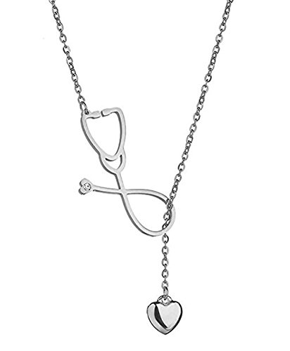 SXNK7 Stainless Steel Gold Silver Heartbeat Cardiogram ECG Pendant Stethoscope Chokers Necklace (Stethoscope Necklace)