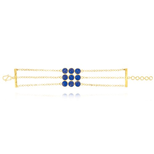 Pippa Small Bracelet Plaqué Or Ronde Lapis Lazuli Bleu Femme