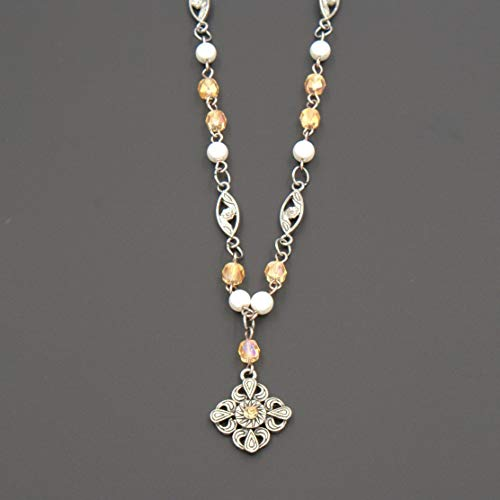 - Scroll Charm Pendant Necklace - Amber Glass Beads, White Glass Pearls, Flower Etched Metal Links, 1.5 & 20-inch