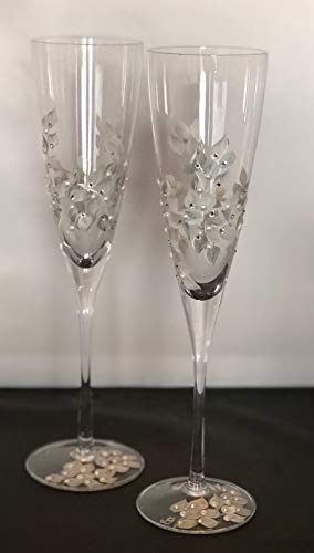 Hand Painted Trumpet Champagne Toasting Flutes with Swarovski Crystals and Pearls Set of 2