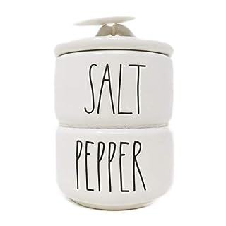 Rae Dunn By Magenta 2 Piece SALT & PEPPER Stacking Ceramic LL Salt & Pepper Cellars Set