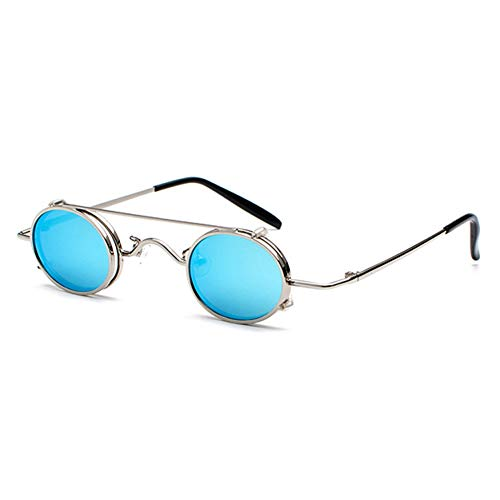 CCGSDJ Small Round Steampunk Sunglasses Men Women Retro Metal Clip On Steam Punk Sun Glasses for Male Vintage Gothic Goggles Cat Eye Interchangeable Goggles