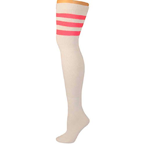 (AJs Retro Thigh High Tube Socks - White, Hot Pink )