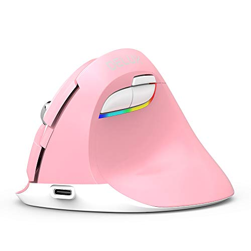 Delux Vertical Mouse with 2.4g RF Dongle and BT 4.0, Ergonomic Silent Wirless Mouse with Built-in Rechargeable Battery, 6 Buttons and 4 Level Sensitivity for Small Hands (M618mini-Pink) ()