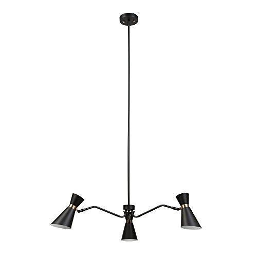 Globe Electric 65854 Belmont 3-Light Chandelier, Black Color, Satin Finish, Gold Accents by Globe Electric